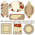 Romantic tag, label and trim set with hearts Stock Image