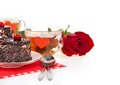 Romantic tea drinking with cakes and rose Royalty Free Stock Photo