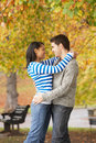 Romantic Teenage Couple In Autumn Park Royalty Free Stock Image