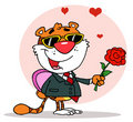 Romantic tiger holding a rose Stock Photography