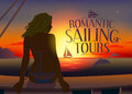 Romantic tours design template with relaxing woman silhouette and dolphins at sunset eps Royalty Free Stock Photography