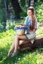 Romantic ukrainian woman portrait of beautiful in forest Royalty Free Stock Photos