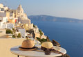 Romantic vacation in santorini concept two hats on island Royalty Free Stock Photos