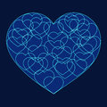 Romantic valentine card with Big blue heart