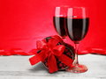 Romantic Valentine Gift with Red Wine Royalty Free Stock Photo