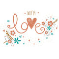 Romantic valentines day card with word love made, flowers, petals, hearts and twigs. Cute wedding card, save the date design