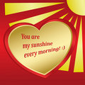 Romantic vector card with sun and heart  Royalty Free Stock Photo