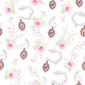 Romantic vector pattern with roses,  chain medallions and tree b Royalty Free Stock Photo