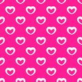 Romantic vector seamless pattern with white linear hearts