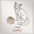 Romantic vintage birthday card template with calligraphy, fox and gift box sketch. Royalty Free Stock Photo