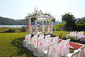 Romantic wedding day venue image of an outdoor style setting Stock Image