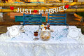 Romantic wedding day venue image of an outdoor style setting photo taken on july th Stock Image