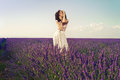 Romantic woman in fairy lavender fields Stock Image
