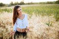 Romantic woman in fields of barley Royalty Free Stock Photo