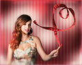 Romantic woman in a whirlwind love romance Royalty Free Stock Images