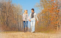 Romantic young beautiful couple on autumn walk Royalty Free Stock Photography