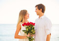 Romantic young couple in love man giving beautiful young woman women bouquet of red roses date Royalty Free Stock Photos
