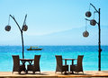 Romantisk cafe på stranden Arkivfoto