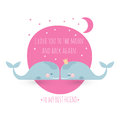 Romatic greeting card with whales. Card about friendship. I love Royalty Free Stock Photo