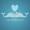 Romatic greeting card with whales. Royalty Free Stock Photo
