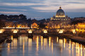 Rome - Angels bridge and St. Peter s basilica Stock Images