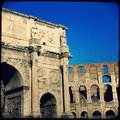Rome arch of constantine arco di costantino a triumphal arch in located between the colosseum and the palatine hill Royalty Free Stock Photo