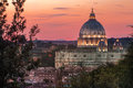 Rome architectural masterpiece during summer sunset in Italian capital Royalty Free Stock Photo