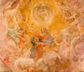 Rome assumption of vigin fresco in cupola of side chapel by giovanni lanfranco in basilica di sant agostino augustine italy march Royalty Free Stock Photo