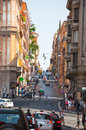 ROME-AUGUST 6: Via delle Quattro Fontane on August 6,2013 in Rome, Italy. Royalty Free Stock Photos