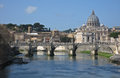 Rome from a bridge vatican and st peters in the ponte umberto Royalty Free Stock Photography