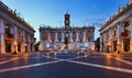 Rome capitoline square cobbles rise italy hill city museum bildings and statue illuminated at sunrise Stock Photo