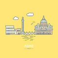 Rome city landmarks flat vector illustration