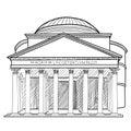 Rome famous building. Italian landmark Panteon isolated sktch il Royalty Free Stock Photo