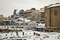 Rome, Fori Imperiali under snow Royalty Free Stock Images