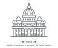 Rome icon. Saint Peters basilica and italian flag.