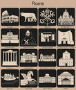Rome icons landmarks of set of monochrome editable vector illustration Royalty Free Stock Image