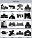 Rome icons landmarks of set of monochrome editable vector illustration Royalty Free Stock Images