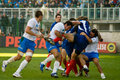 Rome italy february rugby six nations cup italy franc france players in action scrum on playground Royalty Free Stock Images
