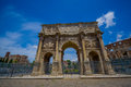 ROME, ITALY - JUNE 13, 2015: Constantine arch at Rome, this monument is located between the coliseum and palatine Royalty Free Stock Photo