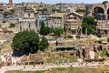 ROME, ITALY - JUNE 24, 2017: Panoramic view from Palatine Hill to ruins of Roman Forum in city of Rome Royalty Free Stock Photo