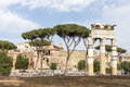 Rome Italy:landscape of Via dei Fori Imperiali and Trajan's Forum Royalty Free Stock Photo