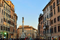 Rome italy mar piazza di spagna with column of the immaculate conception and crowd of tourists in on mar column was set in has Stock Images