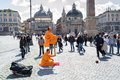 Rome italy march street artists performing tourists piazza del popolo rome Royalty Free Stock Images