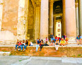 Rome, Italy - September 10, 2015: The Panteon - Temple of all Gods in Rome Royalty Free Stock Photo