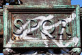Rome, Italy. SPQR The Roman Senate and People metal inscription