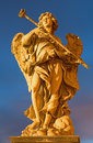 Rome italy statue of angel with the sponge by sculptor antonio giorgetti from angel s bridge in evening dusk march Stock Images