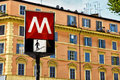 Rome metro sign subway against building in italy Stock Images