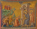 Rome old mosaic of adoration of the magi in church basilica di santa maria in trastevere from cent by pietro cavallini italy march Royalty Free Stock Image