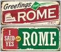 Rome postcards concept