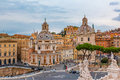 Rome skyline and domes of Santa Maria di Loreto church Royalty Free Stock Photo